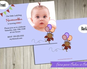 Personalized  Ladybug Birthday party invitation - Digital printable file