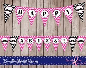Hot Pink Black Mustache Alphabet A-Z, 0-9, !&,? Digital Printable Banner DIY