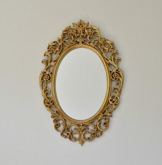 Vintage Arabesque Antique Gold Ornate Mirror Oval Mirror