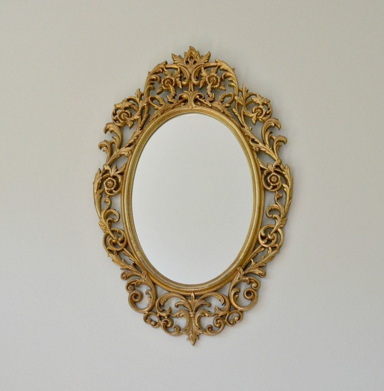 Vintage Arabesque antique gold ornate mirror oval mirror