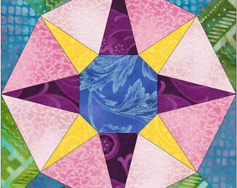 Rising Star Paper Piece Templates Quilting Block Pattern