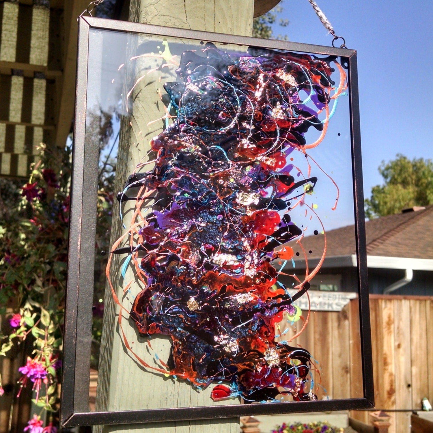 Abstract acrylic painting on glass in black frame with chain for Painting on glass windows with acrylics