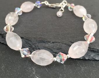 Rose Quartz Bracelet, crystal Bracelet, pink bracelet, sterling silver bracelet, gemstone bracelet
