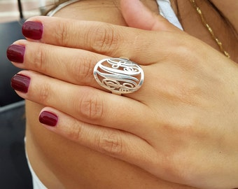Statement Monogram Initial Ring - Circle Custom Made Ring with any initials you wish - 925 Sterling Silver