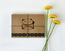 Panda Stationery- Five handmade cards, featuring hand illustrated design, printed onto natural white/kraft card stock.