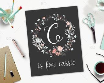 Alphabet name art - PRINTABLE wall art / floral wreath name art / letter is for name art / nursery wall art / nursery printable / baby girl