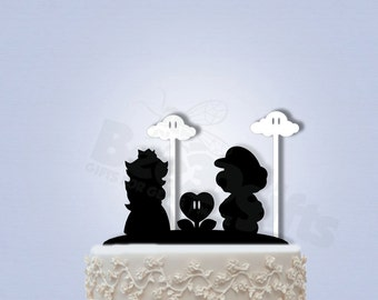 Mario and Peach Wedding Cake Topper with Clouds