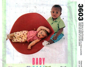 McCall's Sewing Pattern 3603 Infants' Shirts, Tops, Pull-on Pants Size:  13-24lbs  Uncut