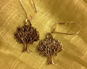Lovely Rowan Tree Earrings on Lever Backs