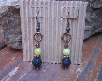 boho earrings green jade earrings stone earrings bohemian earrings hippie earrings black volcanic rock lava stone copper drop earrings