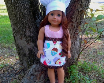 18 inch doll apron and hat