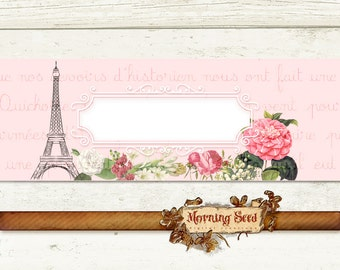 Printable Soap labels Candle wrapper label - Soap packaging editable template Paris French labels