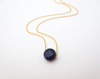 Navy, Nugget, Gold/ Silver, Necklace, Glitter, Nugget, Simple, Dainty, Cute, Navy, Necklace, Circle, Simple, Modern, Dainty, Necklace