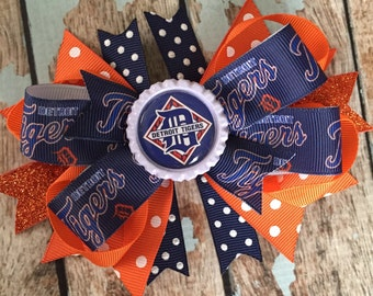 DETROIT TIGERS Baseball Girly Dainty Stacked Twisted OTT Boutique Bow