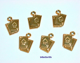 """Lot of 24pcs """"Poker Cards"""" Gold Color Plated Metal Charms. #SW2671."""