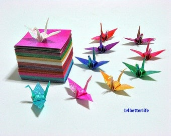 "200 Sheets 1.5"" x 1.5"" Assorted Colors DIY Chiyogami Yuzen Paper Folding Kit for Origami Cranes ""Tsuru"". (TX paper series). #CRK-44."