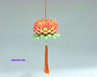 A Piece of Medium Size Orange Color Origami Hanging Lotus. (AV paper series).