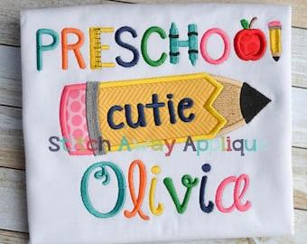 Preschool Cutie Back to School Machine Applique Design
