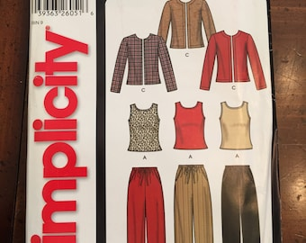 Simplicity 5845, Easy, Pants, Jacket and Knit Top, Misses Size A, Size 10, 12, 14, 16, 18, 20 22, UNCUT