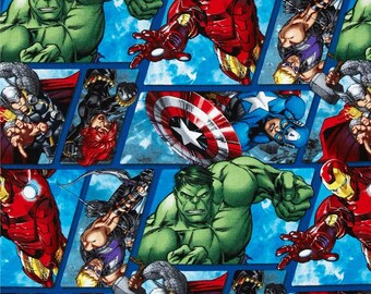 Marvel Avengers Assemble Avenger Grid Multi Sold by the FAT QUARTER