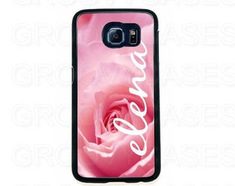 Personalized Samsung Galaxy S6 Case Rubber Pink Rose