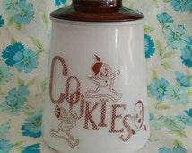 Adorable 1950's Bartlett Collins cookie jar brown and white with lid mid century kitsch