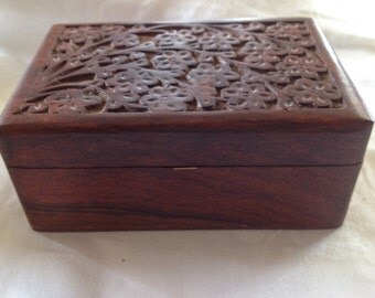 10% OFF SALE Vintage Carved Wood Box/ Jewelry Box