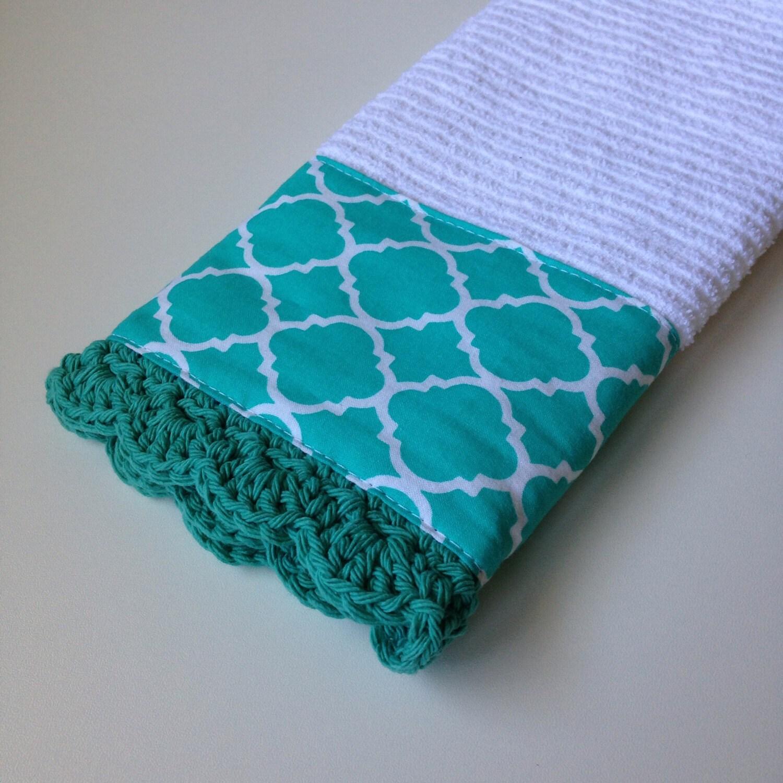 Turquoise Kitchen Towels: Crochet Kitchen Towel / Turquoise Quatrefoil Print / Crochet