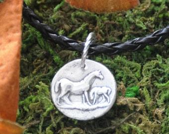 Fine Silver Metal Clay Companion Horse Pendant Charm necklace