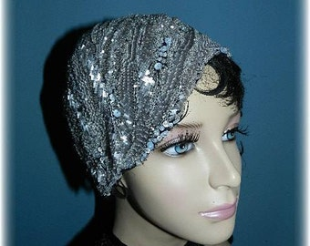 20'S Black & Silver Beaded Redesigned Cloche Hat