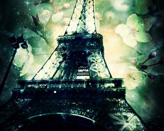 Eiffel Tower Print, Image of the Eiffel Tower overlayed with a floral print. Paris Photography