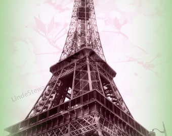 Eiffel Tower Decor, Romantic Paris, Eiffel Tower Photography. Image given a retro feel. Paris Photography