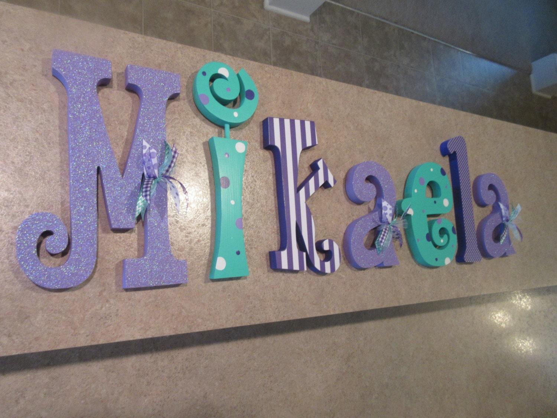Nursery Letters Nursery Wall Hanging Letters Purple Teal