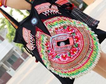 Tribal bag, Medium size multi-colors, Shoulder purse.