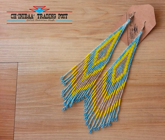 Light Blue Gold and Yellow  Extra Long Shoulder Dusters Native American Earrings- - Pow Wow Style