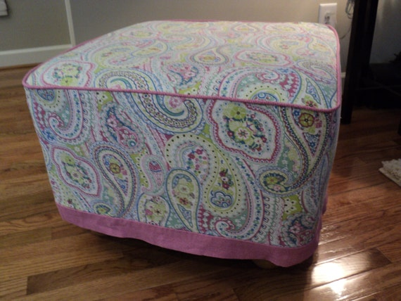 Pink Paisley 23 Cube Ottoman Cover For Pottery Barn