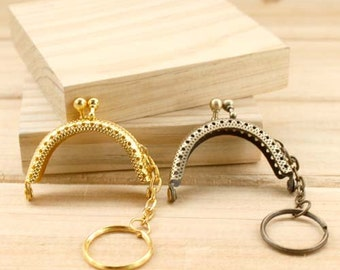 1 PCS, 5cm / 2 inch, Small Cute Half Rounded Solid Kiss Clasp Lock Purse Frame w/ Key Hole, K164