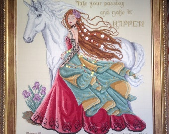 My Unicorn and My Passion- Horse Fantasy Gothic Magical Mythical  PDF Counted Cross Stitch Chart Pattern Instant Download
