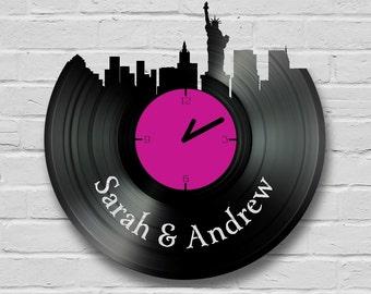 Personalised New York Cityscape Vinyl Record Clocks