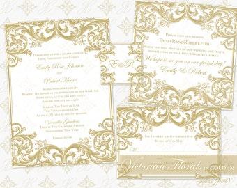 DIY Printable Wedding Invitation Template Set   Printable Invitation Suite (5x7)   Victorian Florals in Golden