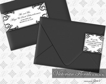 DIY Printable Wedding Wrap Around Address Label Template | Printable Address Label | Victorian Florals in Black