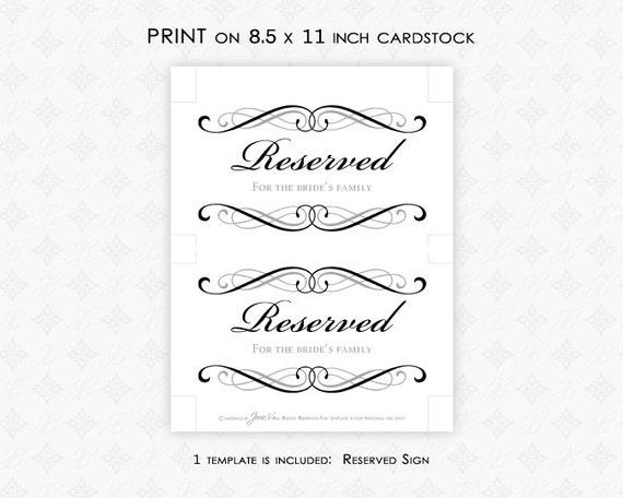 DIY Printable Wedding Reserved Sign Template Printable