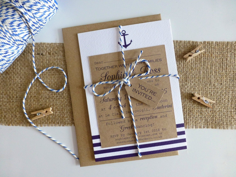 Nautical Wedding Invitation Wording: Nautical Wedding Invitation Bundle Seaside Wedding By