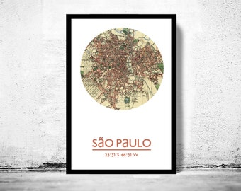 SÃO PAULO - city poster - city map poster print
