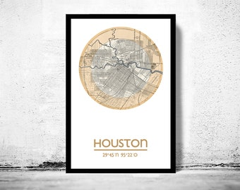 HOUSTON (2) - city poster - city map poster print