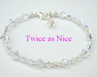 Swarovski crystal bracelet Sterling Silver dainty crystal bridal bracelet AB or clear crystal wedding jewelry bridesmaid jewellery gift