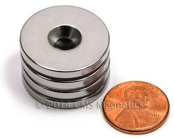 "4 Piece N42 Neodymium Magnet Dia 1x1/8"" /w #8 Countersunk Hole ND0505-42NM-#8"