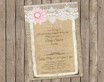 Burlap and lace, pink, pearl, Vintage Baby shower Invitation, Baby Girl, Digital file, Printable