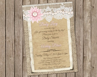 Burlap and Lace Vintage Baby Girl Shower Invitation with Pearls and Pink Flower - printable 5x7