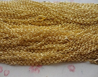 30pcs 2.5*2.5mm width 18 inches shiny gold color plated Metal Link Necklace Chain , MN3193-30